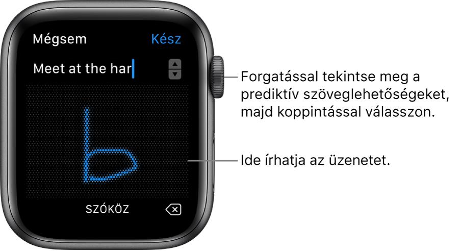 Az üzenet firkálására szolgáló képernyő. A prediktív szövegbeviteli lehetőségek felül jelennek meg, és az üzenet középen írható be.