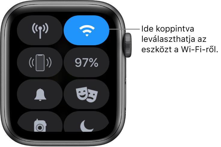 """A Vezérlőközpont az AppleWatchon (GPS + Cellular), a jobb felső részen a Wi-Fi gombbal. A képaláírás szövege """"Koppintson a Wi-Fi bontásához""""."""