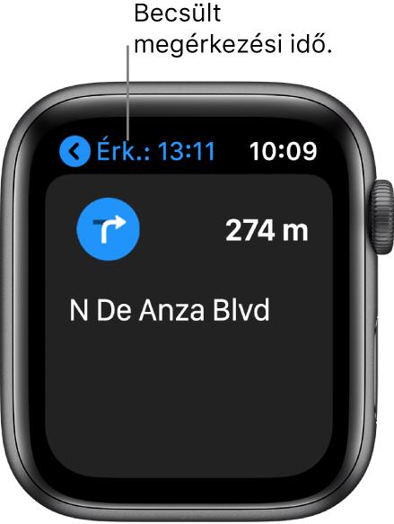 A Térképek alkalmazás; balra fent látható a becsült érkezési idő, a következő fordulás utcája és a kanyarig hátralévő távolság.