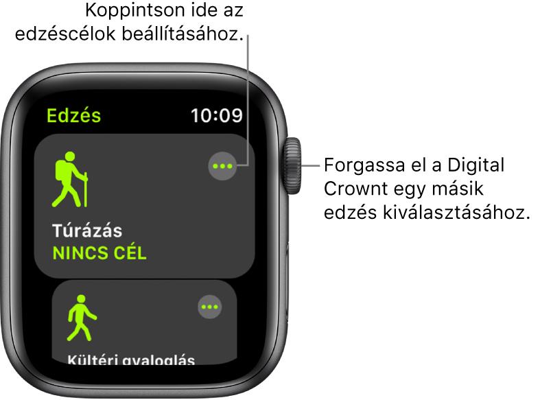 Az Edzés gyűrű kiemelt Túrázás edzéssel. A jobb felső sarokban egy Továbbiak gomb található. A Kültéri gyaloglás edzés egy része lentebb látható.