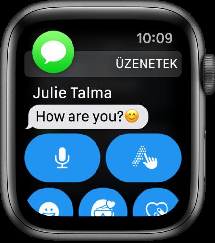Üzenetről szóló értesítés; az Üzenetek ikonja bal felső sarokban látható, az üzenet pedig alatta.