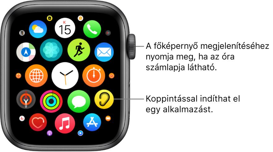 Az Apple Watch Főképernyője rácsnézetben az alkalmazások egy csoportjával. Az alkalmazás megnyitásához koppintson rá. Elhúzással további alkalmazásokat jeleníthet meg.