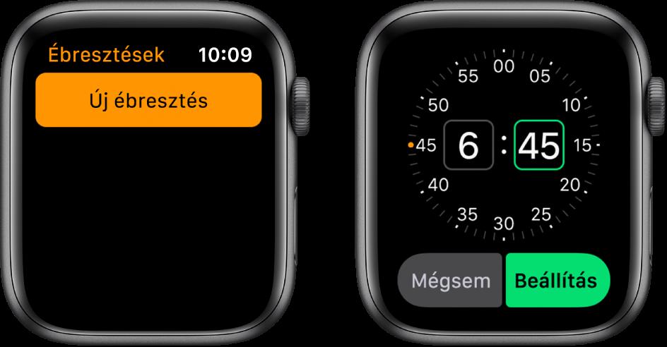 Két óraszámlap, amelyeken nyomon követheti a jelzések beállításának menetét: Kopptinson az Új ébresztés lehetőségre, koppintson a DE vagy a DU lehetőségre, forgassa el a Digital Crownt az idő beállításához, és koppintson a Beálíltás elemre.
