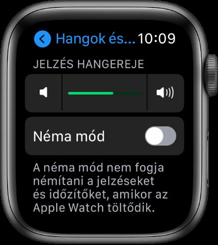 A hangok és haptikus jelzések beállításai az Apple Watchon; felül a Jelzés hangereje, alatta pedig a Néma mód gombja látható.