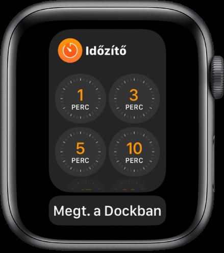 Az Időzítő alkalmazás képernyője a Dockban, alul a Meg. a Dockban gombbal.