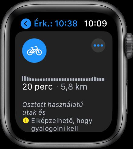 Az Apple Watch képernyője, amelyen  biciklis útvonalak láthatók, többek között egy áttekintéssel, amely a magasságban bekövetkező változásokat mutatja az útvonalon, a becsült idővel és távolsággal, továbbá az útvonalon esetlegesen előforduló akadályokra figyelmeztető megjegyzésekkel.