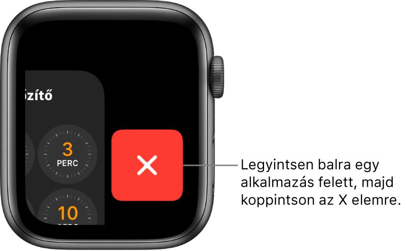 A Dock képernyője, miután az alkalmazás felett balra legyintett, jobb oldalon az X gombbal.