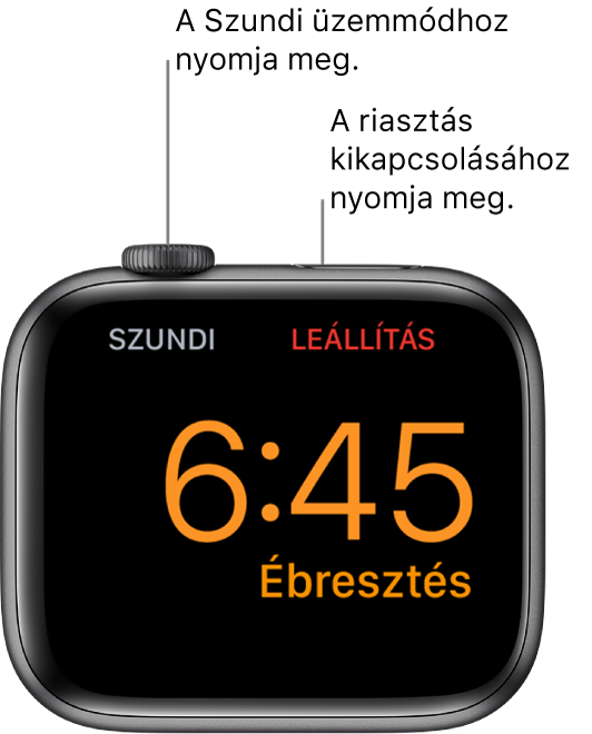 """Oldalára fektetett Apple Watch, amelyen az éppen megszólaló ébresztés látható. A Digital Crown alatt a """"Szundi"""" szó látható. Az oldalsó gomb alatt látható a """"Leállítás"""" szó."""