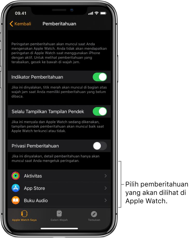 Layar Pemberitahuan di app Apple Watch pada iPhone, yang menampilkan sumber pemberitahuan.