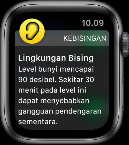 Apple Watch menampilkan pemberitahuan Kebisingan. Ikon untuk app yang terkait dengan pemberitahuan akan muncul di kiri atas. Anda dapat mengetuknya untuk membuka app.