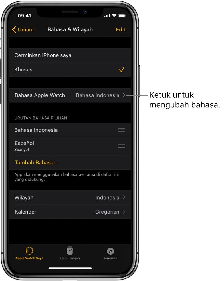 Layar Bahasa & Wilayah di app Apple Watch, dengan pengaturan Bahasa Apple Watch di dekat bagian atas.