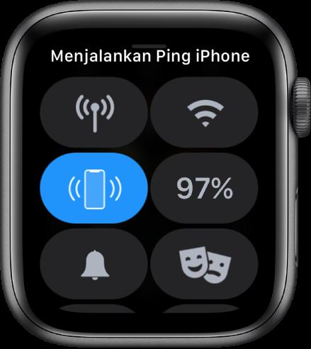 Pusat Kontrol, dengan tombol Ping iPhone yang ditunjukkan di kiri tengah.