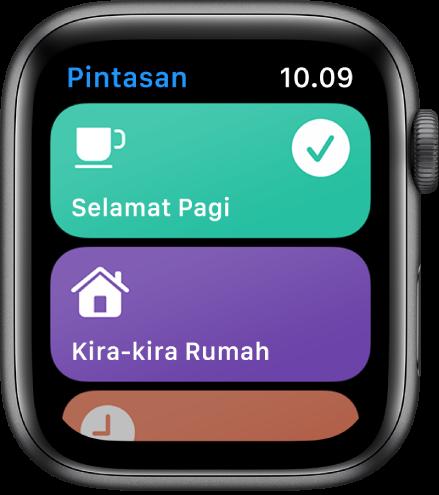 App Pintasan di Apple Watch mengampilkan dua pintasan—Selamat Pagi dan ETA di Rumah.