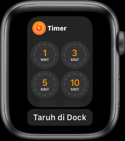 Layar app Timer di Dock, dengan tombol Taruh di Dock di bawahnya.