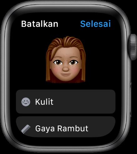 App Memoji di AppleWatch menampilkan wajah di dekat bagian atas serta pilihan Kulit dan Gaya Rambut di bawah.