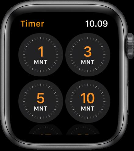 Layar app Timer, menampilkan timer cepat untuk 1, 3, 5, atau 10 menit.
