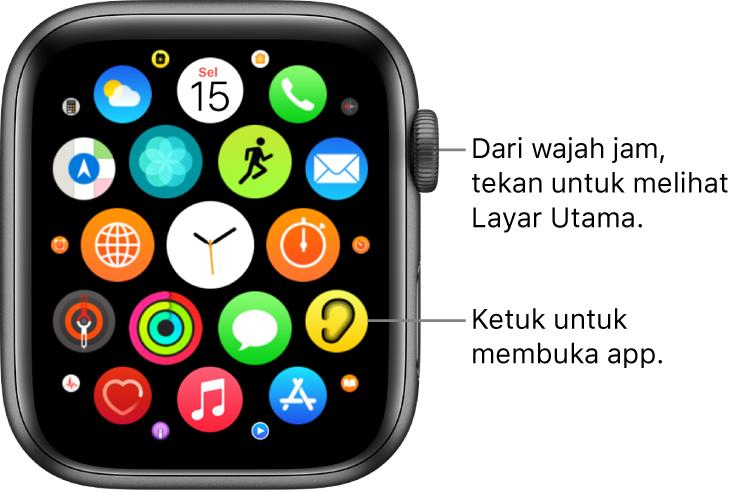Layar Utama dalam tampilan grid di Apple Watch, dengan app dalam kumpulan. Ketuk app untuk membukanya. Gesek untuk melihat app lainnya.