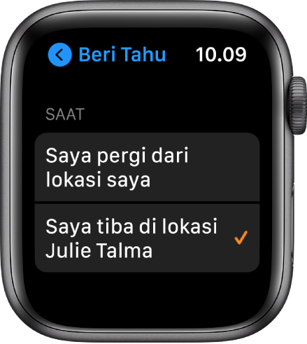 "Layar Beri Tahu di app Cari Orang. ""Saat saya tiba di lokasi Julie Talma"" dipilih."
