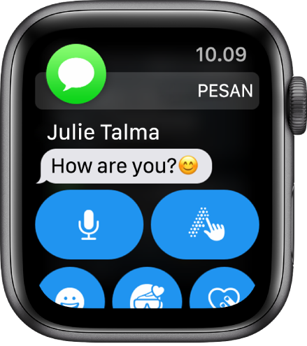 Apple Watch menampilkan pesan.