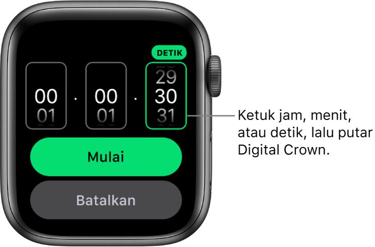 Pengaturan untuk membuat timer khusus, dengan jam di sebelah kiri, menit di sebelah tengah, dan detik di sebelah kanan. Tombol Mulai dan Batalkan terdapat di bawah.
