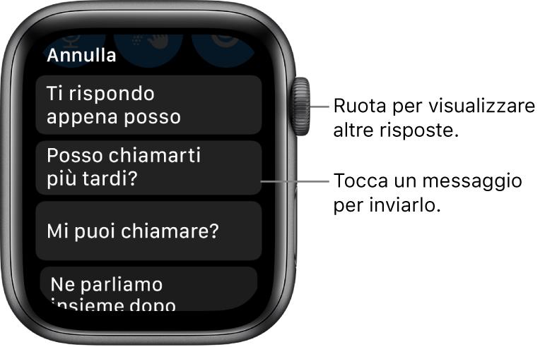 """La schermata di Messaggi che mostra il pulsante Annulla in alto e tre risposte predefinite (""""Ti rispondo appena posso."""", """"Posso chiamarti più tardi?"""" e """"Mi puoi chiamare?"""")."""