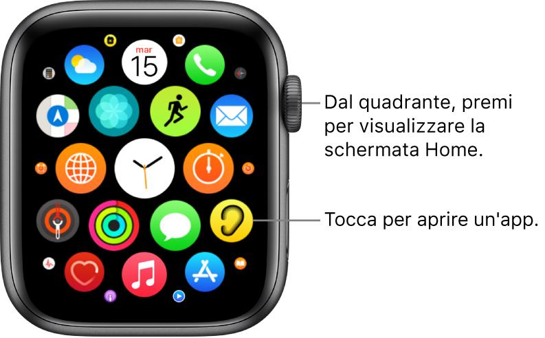 Schermata Home in vista griglia su Apple Watch, con le app raggruppate. Tocca un'app per aprirla. Scorri per visualizzare altre app.