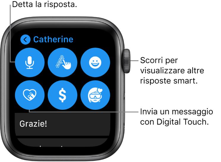 La schermata di risposta che mostra i pulsanti di dettatura, scrittura, emoji, Digital Touch, Apple Pay e memoji. Sotto sono disponibili le risposte smart. Ruota la Digital Crown per visualizzare altre risposte smart.