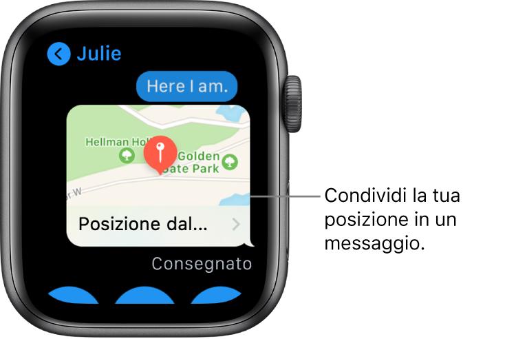Schermata Messaggi mostrante una mappa della posizione del mittente.
