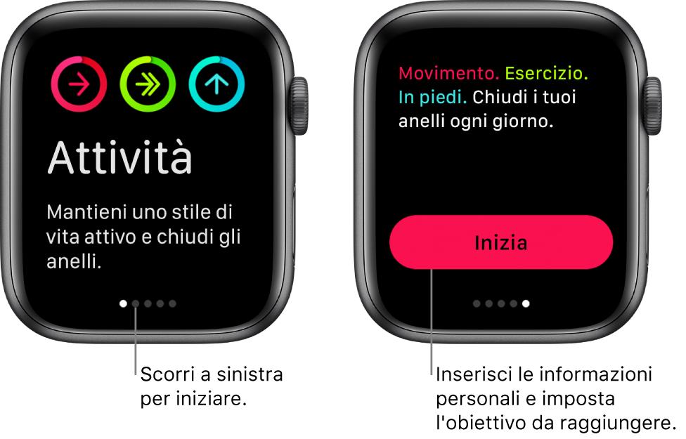 Due schermate: una mostra la schermata di apertura dell'app Attività, l'altra mostra il pulsante Inizia.