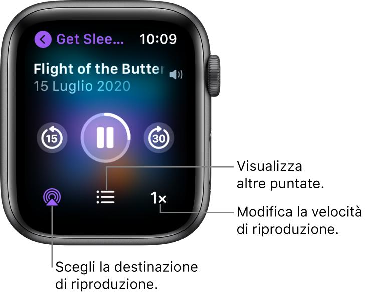"""Una schermata """"In riproduzione"""" di Podcast che mostra il nome del podcast, il titolo della puntata, la data, il pulsante per tornare indietro di 15 secondi, il pulsante per mettere in pausa, il pulsante per andare avanti di 30 secondi, il pulsante AirPlay, il pulsante delle puntate e il pulsante della velocità di riproduzione."""