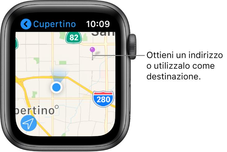 L'app Mappe mostra una mappa con sopra un contrassegno viola, che può essere usato per ottenere un indirizzo approssimativo di un'area sulla mappa o come destinazione per le indicazioni.