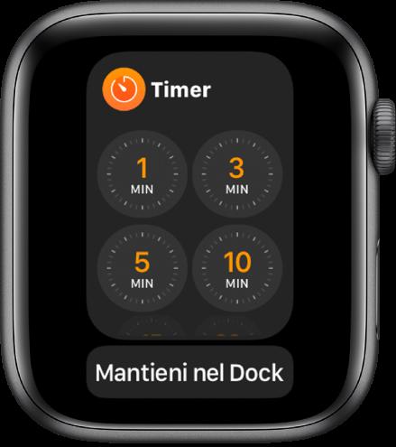 """La schermata dell'app Timer nel Dock, con il pulsante """"Mantieni nel Dock"""" sotto."""