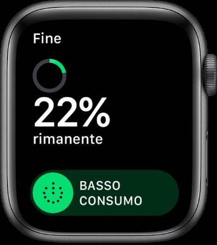 """La schermata di """"Basso consumo"""" che mostra il pulsante Fine in alto a sinistra, la percentuale di carica rimanente e il cursore """"Basso consumo""""."""