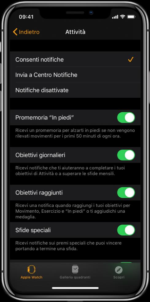 La schermata di Attività nell'app Watch ti consente di personalizzare le notifiche che vuoi ricevere.
