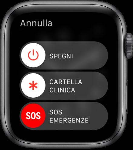 """Lo schermo di AppleWatch che mostra tre cursori: Spegni, """"Cartella clinica"""" e """"SOS emergenze"""". Trascina il cursore Spegni per spegnere AppleWatch."""