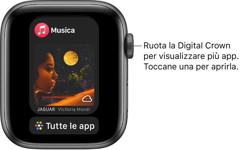 """Il Dock che mostra l'app Musica con sotto un pulsante """"Tutte le app"""". Ruota la Digital Crown per visualizzare altre app. Toccane una per aprirla."""