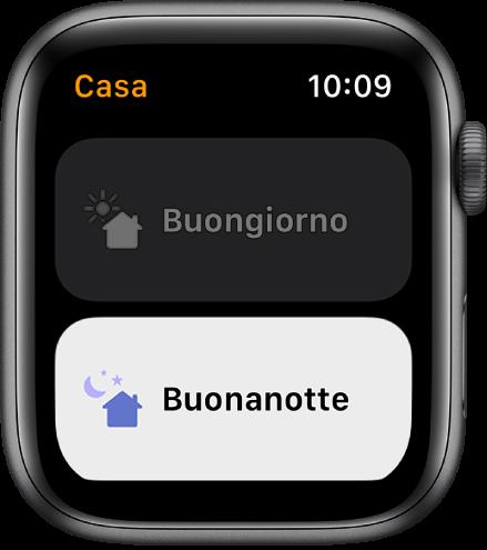 L'app Casa su Apple Watch che mostra le scene Buongiorno e Buonanotte. La scena Buonanotte è evidenziata.
