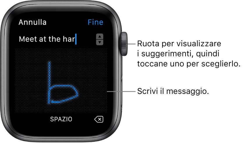 La schermata dove scrivi a mano un messaggio di risposta. Le opzioni di suggerimento del testo vengono visualizzate in alto mentre scrivi il messaggio al centro.