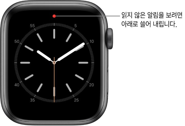 시계 페이스 상단 중앙에 있는 빨간색 점은 읽지 않은 알림이 있을 때 나타남.