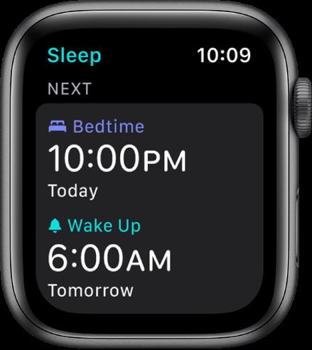 """""""Apple Watch"""" programos """"Sleep"""" ekranas, kuriame rodomas nakties miego tvarkaraštis. Gulimo metas nustatytas 22.00 val., o žadintuvas – 6.00 val."""