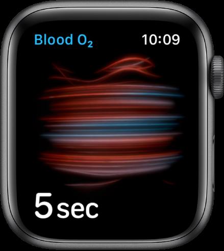 """""""Blood Oxygen"""" ekranas, kuriame atliekamas matavimas; skaičiuojama nuo 5 mažėjančia tvarka."""