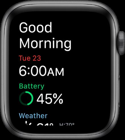 """""""Apple Watch"""", kuriame rodomas pabudimo ekranas. Viršuje rodomi žodžiai """"Good Morning"""". Žemiau rodoma data, laikas, akumuliatoriaus įkrova ir orų prognozė."""