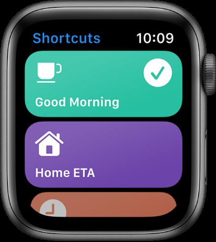 AppleWatch lietotne Shortcuts, kurā redzamas divas saīsnes— Good Morning un Home ETA.