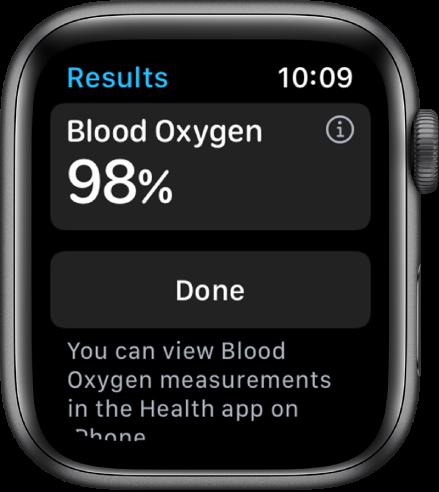 Lietotnes Blood Oxygen rezultātu ekrānā ir redzams skābekļa saturācijas līmenis asinīs 98procenti. Apakšā ir poga Done.