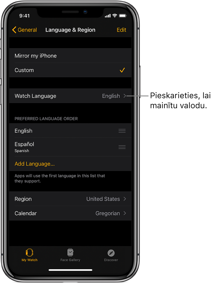 Lietotnes Apple Watch ekrāns Language & Region, kura augšdaļā ir iestatījums Watch Language.