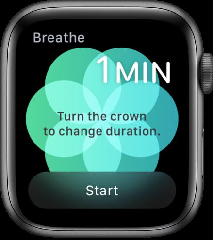 Lietotnes Breathe ekrāns, kurā redzams vienas minūtes ilgums augšējā labajā stūrī un poga Start apakšdaļā.