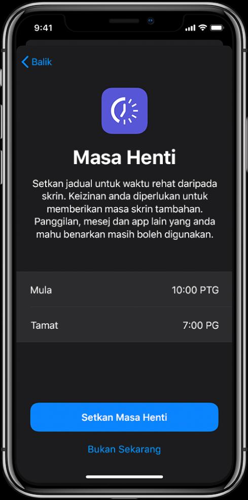 iPhone menunjukkan skrin persediaan Masa Henti. Pilih masa mula dan tamat di tengah skrin. Butang Setkan Masa Henti dan Bukan Sekarang berada di bahagian bawah skrin.