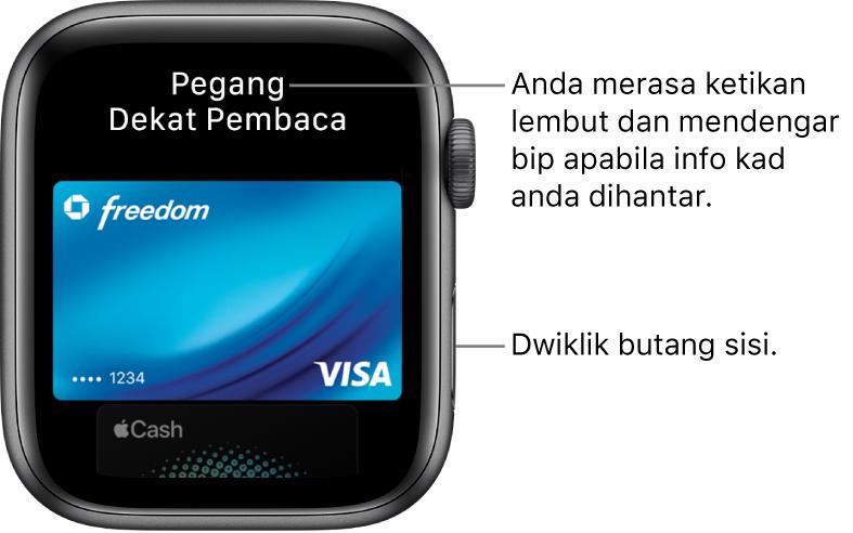 """Skrin Apple Pay dengan """"Pegang Berdekatan Pembaca"""" di bahagian atas; anda akan merasa ketikan lembut dan mendengar bip apabila maklumat kad anda dihantar."""