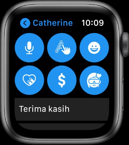Skrin Mesej menunjukkan butang Apple Pay bersama butang Rencana, Coretan, Emoji, Digital Touch dan Memoji.
