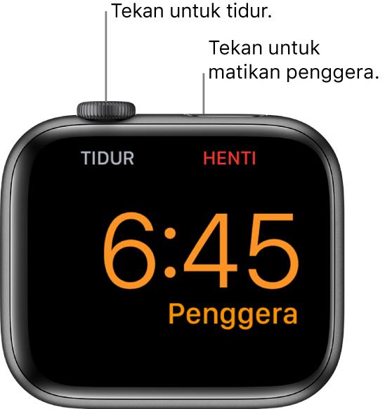 """Apple Watch diletakkan pada sisinya, dengan skrin menunjukkan penggera yang sudah berbunyi. Di bawah Digital Crown ialah perkataan """"Tidur."""" Perkataan """"Henti"""" di bawah butang sisi."""